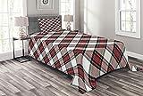 ABAKUHAUS Schottenkaro Tagesdecke Set, Plaid Motiv Rhomben, Set mit Kissenbezügen Sommerdecke, für Einselbetten 170 x 220 cm, Mehrfarbig