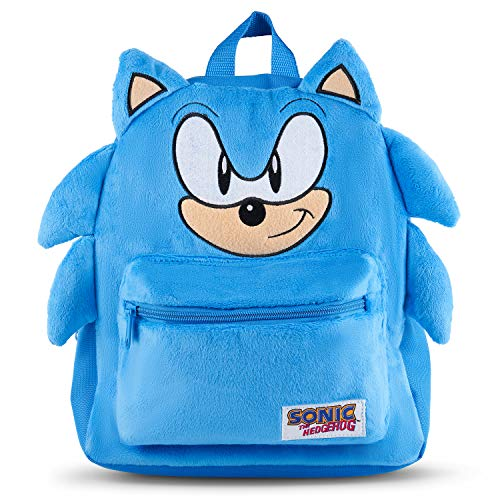 Official Sonic The Hedgehog Licensed Sonic Plush Backpack, School Bag Travel Bags Sonic Movie Kids Rucksack for Girls or Boys Suitable for Toddlers, Kids, 3 Year Old Plus