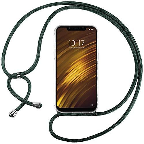 Ingen Funda con Cuerda para Xiaomi Pocophone F1 - Carcasa Transparente TPU Suave Silicona Case con Colgante - Verde Oscuro