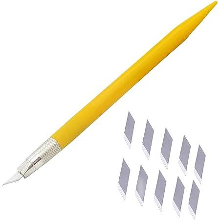 細工用カッター, デザイン アート ナイフ 替え刃 10枚 切り絵 プラモデル 消しゴム はんこ 美術用品