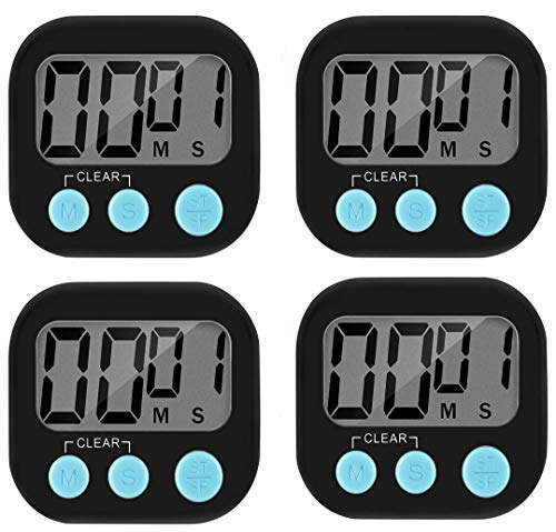4 Pack Digital Kitchen Countdown Timer, ON/Off Switch, Big Digits Loud Alarm Magnetic Backing Stand and Large LCD Display Cute Timers for Cooking Baking, Classroom, Teacher, Kids, Elderly (Black+Blue)