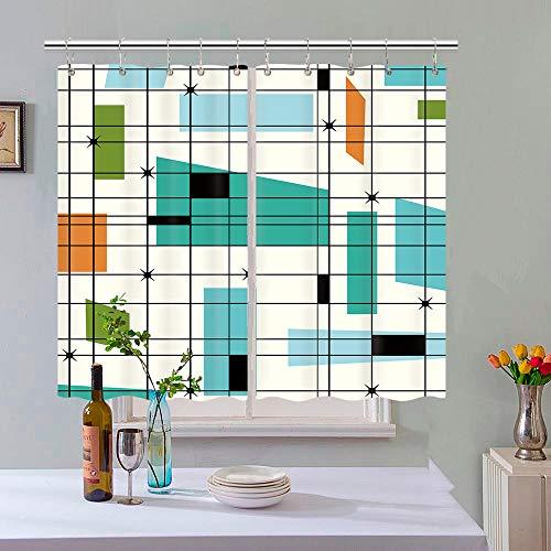 Mid Century Kitchen Curtains, Teal Mid Retro Grid Starbursts Orange Century Modern Retro 1950S 1960S MCM Window Curtain Panel, Retro Modern Window Curtain Panels Sets with Hooks, 55X39 in