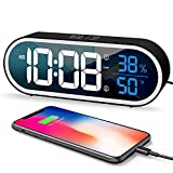 Digital Alarm Clock, with LED Time Display, Dual Alarm Setting, Snooze, Humidity & Temperature Detect, Small Digital Clocks with USB Charger Port Suitable for Bedroom, Bedside, Black