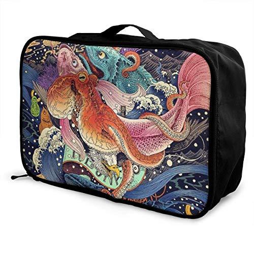 Fashion Casual Faltbare Leichte Große Kapazität Tragbare Lage Tasche wasserdichte Reisetasche Aufbewahrungstasche Tragetasche Japanese Undersea World Octopus Fish Art. No.