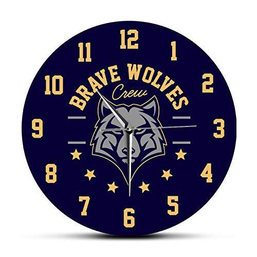 yage Wanduhr Silent Brave Wolves Animal Head Bedruckte Acryl-Wanduhr Wildlife Modernes Design Quarz Mute Wanddekoruhren Hängende Uhr Geeignet für Coffee-Shop-Bars