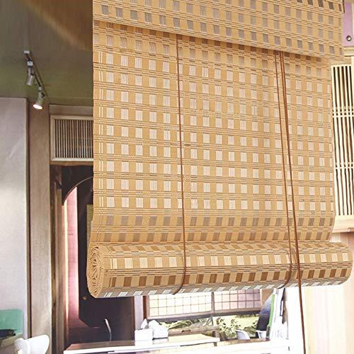 Persianas enrollables de bambú natural, Persiana enrollable de bambú vintage anti-ultravioleta tejida a mano, Tasa de sombreado del 70% para interior / exterior Persianas verticales de privacidad