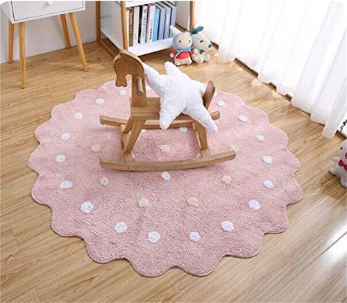 WJY Tapis Rond Princesse Chambre Chambre Salon Moquette Chevet Ordinateur Chaise Game Pad (Color : Pink, Size : 120CM)