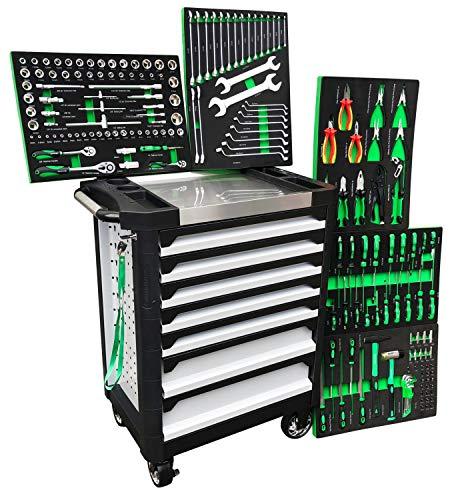 Werkstattwagen gefüllt Black Green Ultra Edition 7 Schubladen 5 inkl. Werkzeug