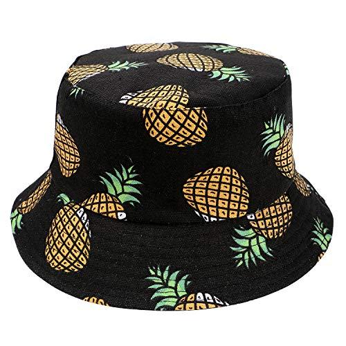Tacobear Unisex Fischerhüte Sonnenhut Reversibel Bucket Hat Outdoor-Hut Strandhut mit Früchte Druck Für Damen Herren Jugendliche (Schwarze Ananas)