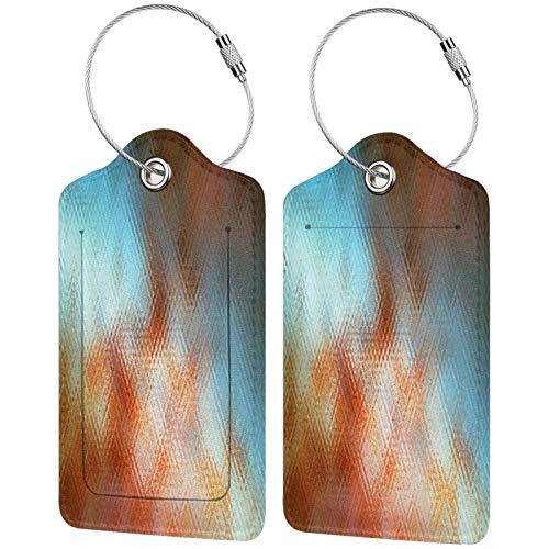 FULIYA - Juego de 2 etiquetas de cuero de alta gama para maletas, identificador de viaje para bolsos y equipaje, para hombre y mujer, textura, mosaico, multicolor, lunares