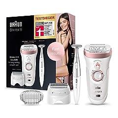 Braun Silk-épil 9-890, depilator do długotrwałej depilacji, bezprzewodowy depilator Wet&Amp;Dry dla kobiet, w tym trymer do bikini i różne dodatki, białe/różowe złoto