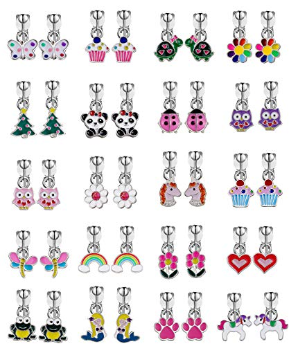 Clip on Earrings for Girls-Princess Play Jewelry Earrings Set with Mermaid Clipons Unicorn Clipon Earring Owl clip-on Earrings Gift for little girls- Flower Non-pierced Earrings for Teens Girls