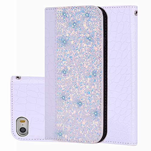 Black Sales Friday Deals Cyber Sales Monday Deals Week-iPhone SE Wallet Case,iPhone 5S Cover [Bling Glitter Shiny] Leather Flip Folio Case Kickstand Credit Card/ID Slots(White-iPhone SE/5S/5)