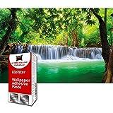 GREAT ART Fototapete Wasserfall im Wald 210 x 140 cm –