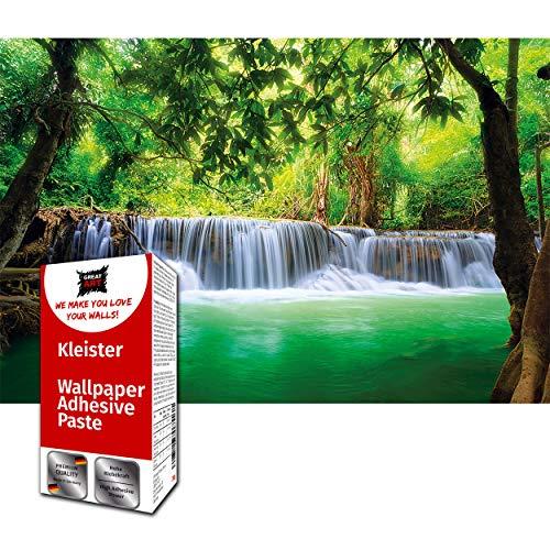 GREAT ART Photo Carta da Parati – Paradise Cascata nel fiume foresta pluviale – giungla Tailandia Kanchanaburi Si Sawat tropicale cascata – 210 x 140 cm 5 pezzi e colla inclusa