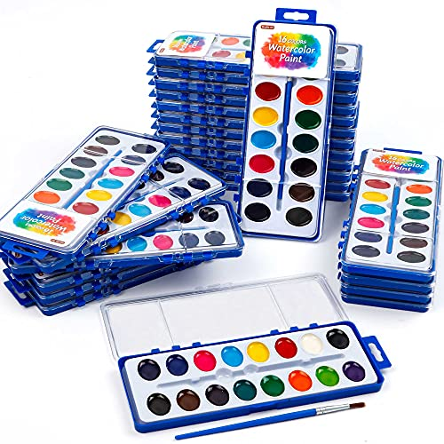 16 Colors Watercolor Paint Set Bulk, Pack of 24, Shuttle Art Watercolor Paint Set with Paint Brushes for Kids and Adults, Washable Paint for Classroom, Parties, Kindergarten and Art Activities