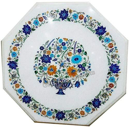 Tavolino da salotto in marmo bianco con motivo a vaso da fiori da 21 pollici