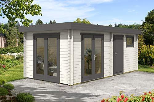 CARLSSON Alpholz Gartenhaus Vönix-40 aus Massiv-Holz | Gerätehaus mit 40 mm Wandstärke | Garten Holzhaus inklusive Montagematerial | Geräteschuppen Größe: 598 x 300 cm | Flachdach