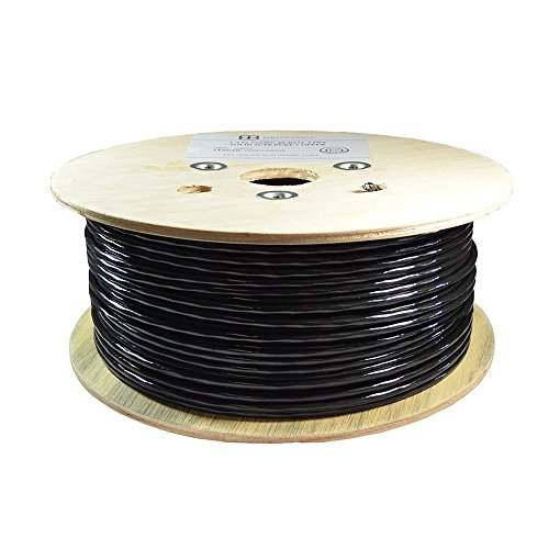 Dripstone 500ft CAT6 FTP Shielded Direct Burial Solid Copper Ethernet Cable 23AWG CMX Waterproof Wire HDPE Insulated Fluke Tested 550Mhz, Black (B07DY82WJX)