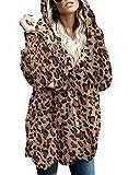 Dokotoo Womens Ladies Leopard Print Open Front Long Sleeve Fluffy Fleece Oversized Coats Jackets with Hoodies Pockets Cardigans Sweater Outerwear No Zipper 2XL
