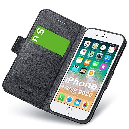 Hülle iPhone 7, iPhone SE 2020 Hülle, iPhone 8 Schutzhülle mit Kartenfach, iPhone 7 Tasche Leder, Phone 8 Handyhülle, Etui Folio Flip Cover Hülle, Klapphülle Komplettschutz Apple 4.7 Zoll. Schwarz