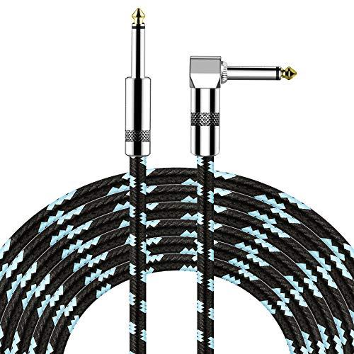 EEEKit Gitarrenkabel 3M Elektrisches Instrumentenkabel mit 6,35 mm (1/4 Zoll) Rechtwinklig zu Geraden Steckern für Bass, E-Gitarre, Keyboard, Elektrische Mandoline, Gitarrenleitung