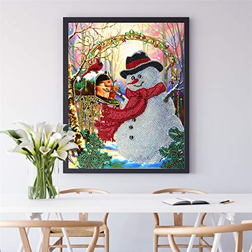 Full Round Drill 5D Diamond Painting Kit Cross Stitch Supply Arts Craft Canvas Wall Decor Christmas Snowman 11.8x15.7 in by Light S Direct