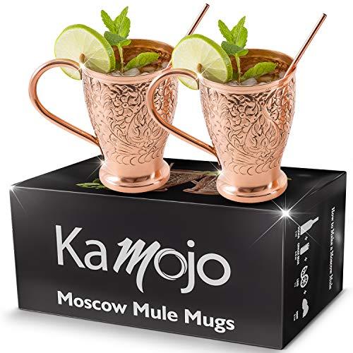 Moscow Mule Copper Mugs - Embossed Set of 2 Pure Copper Cups -2 Straws/Stir Sticks -20 Recipe E-book -Kamojo Exclusive