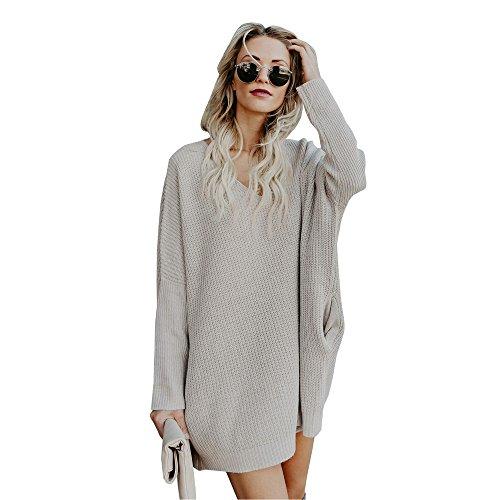 Damen Strickkleid Langarm Pullover Kleid,Sunday Mode Herbstkleid Pullikleid Lange Oberteile Kleid Winterkleid Minikleid (S, Grau)
