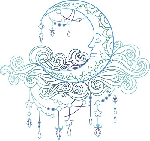 EW Designs Retro Blue Purple Boho Crescent Moon Cartoon Vinyl Decal Bumper Sticker (4' Wide)