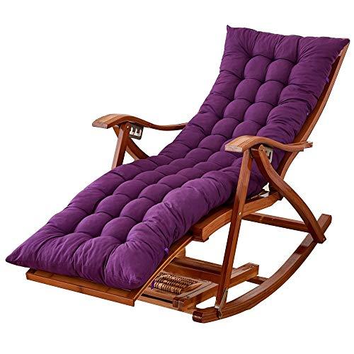 Bseack Chaise berçante, Chaise Longue réglable en Bois Plein de ménage Multifonctionnel avec la Chaise berçante paresseuse extérieure de Repose-Pieds/Salon (Couleur : Violet)