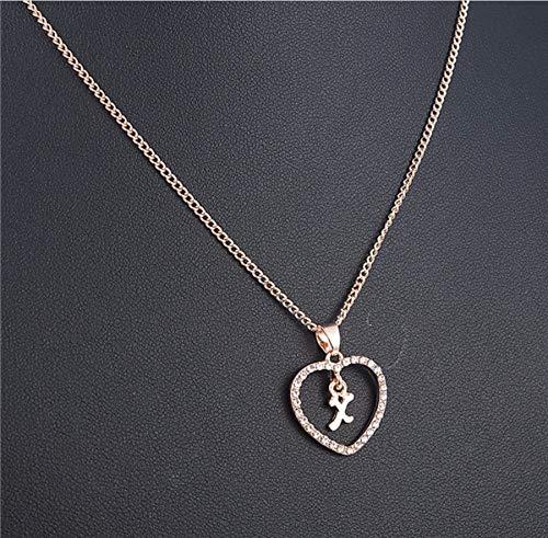 zwyluck romantische liefdeshalsketting voor meisjes, initialen halsketting met strass, alfabet, gouden ketting
