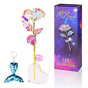 ANBET Flor Brillante Rosa Artificial de Papel de Oro de 24 Quilates con luz LED, Soporte Transparente y Caja de Regalo…