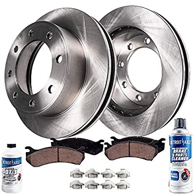 Detroit Axle - 8 Lug Front Disc Rotors + Ceramic Pads + Brake Cleaner And Fluid Replacement for Chevy GMC Silverado Sierra 1500 HD Avalanche Express Suburban Savana 2500 Cadillac Deville - 6pc Set