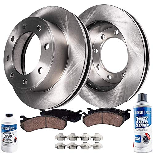 Detroit Axle - Pair (2) Front Disc Brake Kit Rotors w/Ceramic Pads w/Hardware & Brake Kit Cleaner Fluid for 2005 2006 2007 2008 2009 2010 2011 Ford F-250 F-350 4WD 4x4 SINGLE REAR WHEEL