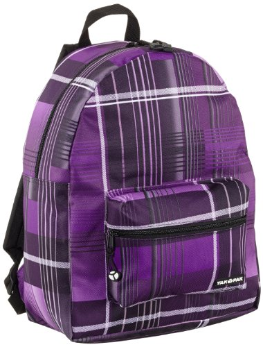 Yak Pak Rucksack Classic Student Backpack, Purple Shirt Plaid, 17 liters, 6350