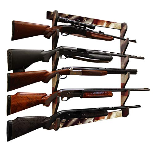 Rush Creek Creations Indoor 5 Rifle/Shotgun Wall Storage Display Rack Americana Finish - Convenient Easy Assembly