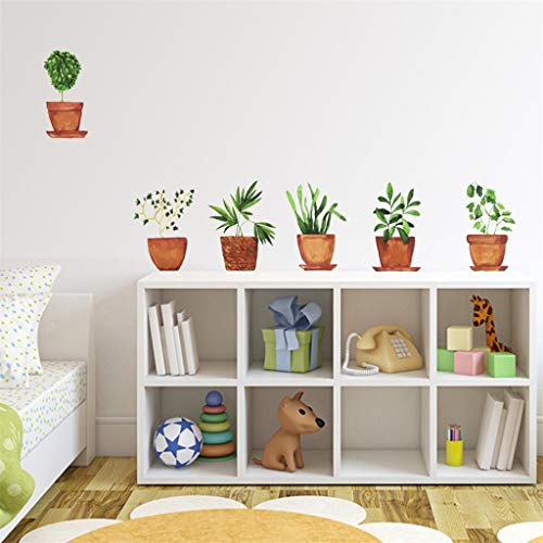 Dass Wandaufkleber Garten Topfpflanze Kaktus Aloe Pflanze Schmetterling Wandtattoo, DIY Kunst Tapete, for Mädchen Schlafzimmer Wohnzimmer Küche Dekoration