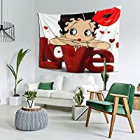 ウォールアート 布ポスター カーテン 壁飾 タペストリー Betty Boop ベティーブープ (2) 壁掛け おしゃれ 室内装飾タペストリー 多機能 カーテン タペストリーピクニックテーブルカバーと カバー