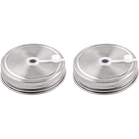 uxcell 2pcs Stainless Steel Wide Mouth Mason Jars Lids with Straw Hole Canning Lids for Drinking & Food Storage
