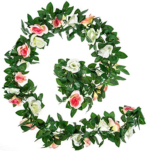 Whaline 2 Pack Artificial Rose Flower Garlands, 15ft White and Champagne Fake Rose Vine Hanging Plants, for Home Hotel Office Wedding Party Garden Craft Art Decor, Arch Arrangement Decoration