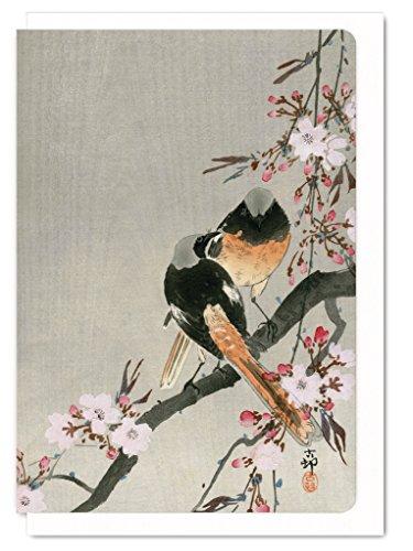 Japanische Grußkarte mit Gartenrotschwanz und Kirschbaum