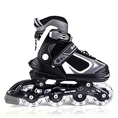 MammyGol Adjustable Inline Skates for Kids with Light up Wheels,Flashing Beginner Roller Skates for Boys and Girls Size 10-12
