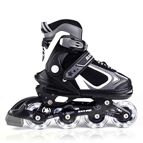Mammygol adjustable inline skates for kids with light up wheels,flashing beginner roller skates for boys and girls size 10-12