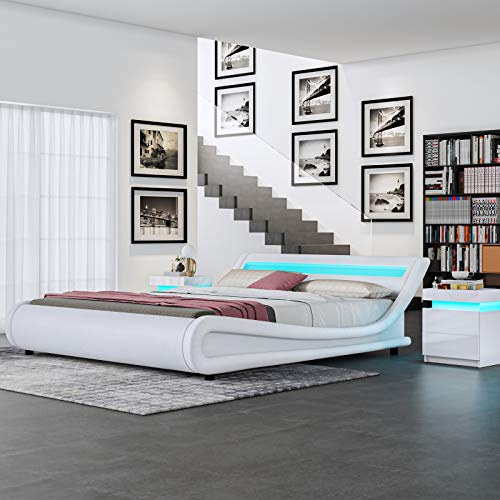 Senvoziii Modern Bed Frames Faux Leather with LED Light Set Headboard 16 Changing Colors European Designer Double 4FT6 Bed Frame Only - White