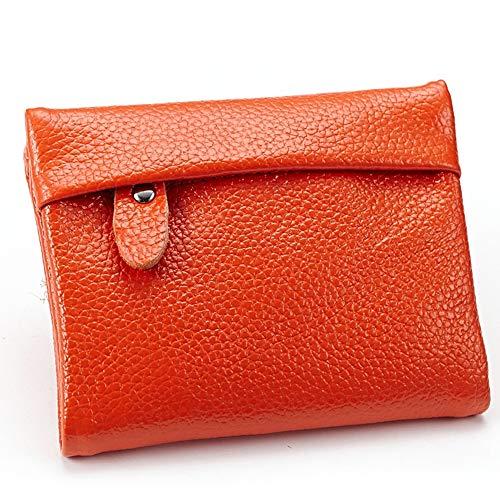 LIUYALE Damenbörse, Kurze Brieftasche, Ledergeldbörse, zweifache Brieftasche, übergroße Reisebrieftasche, ID Fenster, Schultertaschen (Color : Orange)