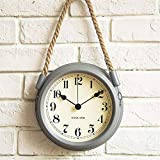 FortuneVin Reloj de Pared Modernos Elegante RelojReloj de Pared Minimalista Moderno nórdico Sala de Estar Cuerda de Metal Relojes de Cuarzo Colgantes 8 Pulgadas (Gris Claro)