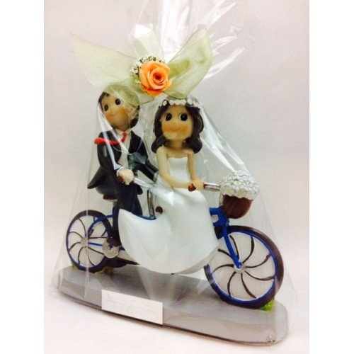 Figuras GRABADAS de boda novios tandem/bicicleta para tarta pastel PERSONALIZADA bici