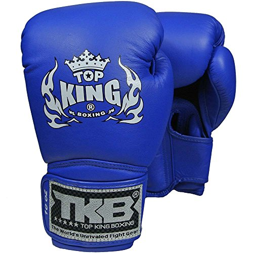 TOP KING Boxhandschuhe, Super Air, Leder, blau, Boxing Gloves, Muay Thai, Leder Size 12 Oz