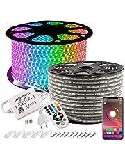 GreenSun Ledstrip, 10, 20, 30 of 50 m, RGB ledstrip, bluetooth-ledstrip met 24 toetsen, afstandsbediening, lichtslang, waterdicht IP65, lichtketting voor Kerstmis, feest, huisdecoratie